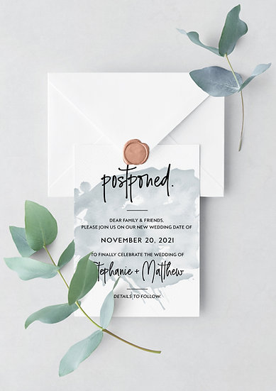 Postponed Wedding Card -Blue Watercolor Change the Date Card