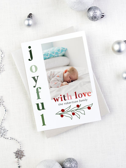 Joyful Red and Green Mistletoe Holiday Card