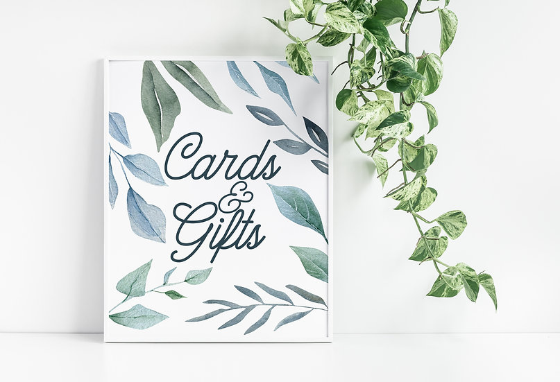 Green and Blue Watercolor Leaves Cards and Gifts Wedding Sign