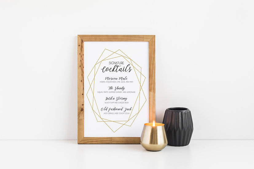 Geometric Minimal Gold Signature Cocktails Wedding Sign