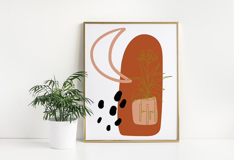 Abstract Moon and Plant Mid Century Print
