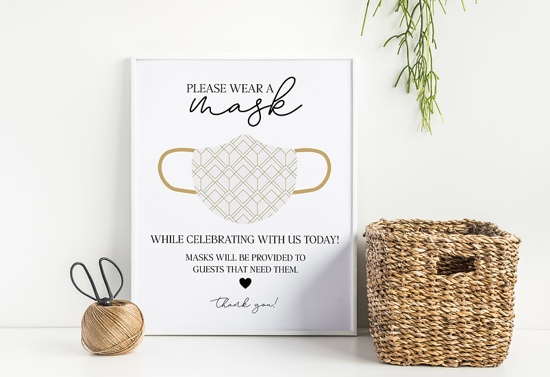 Please Wear A Mask - COVID Safety Wedding Sign
