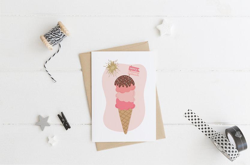 Ice Cream Cone  - Birthday Greeting Card