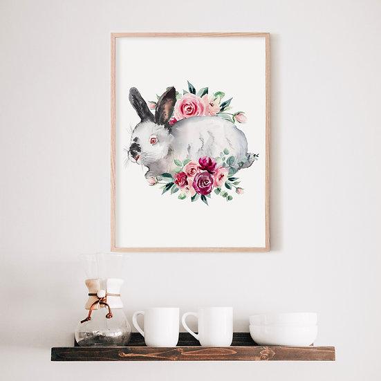 Floral Californian Bunny Print