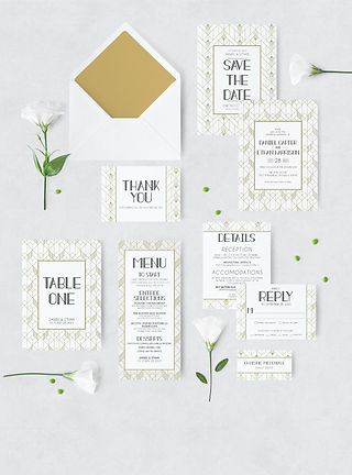 art deco wedding suite with envelope and flowers