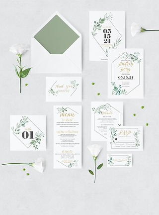 botanical watercolor wedding suite with envelope and flowers