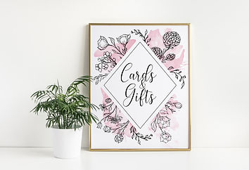 floral line art wedding sign in gold picture frame
