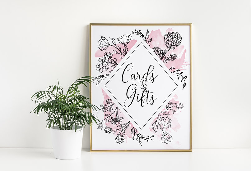 Delicate Pink Watercolor Flowers Cards and Gifts Wedding Sign