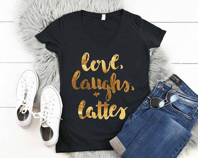 Love, Laugh & Lattes - Gold Foil V-Neck