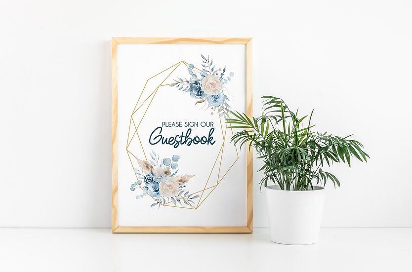 Geometric Blue and Gold Watercolor Guestbook Wedding Sign