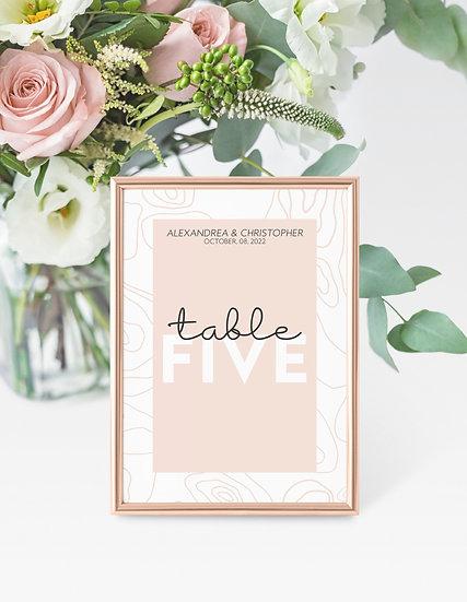 Topography Wedding Table Numbers