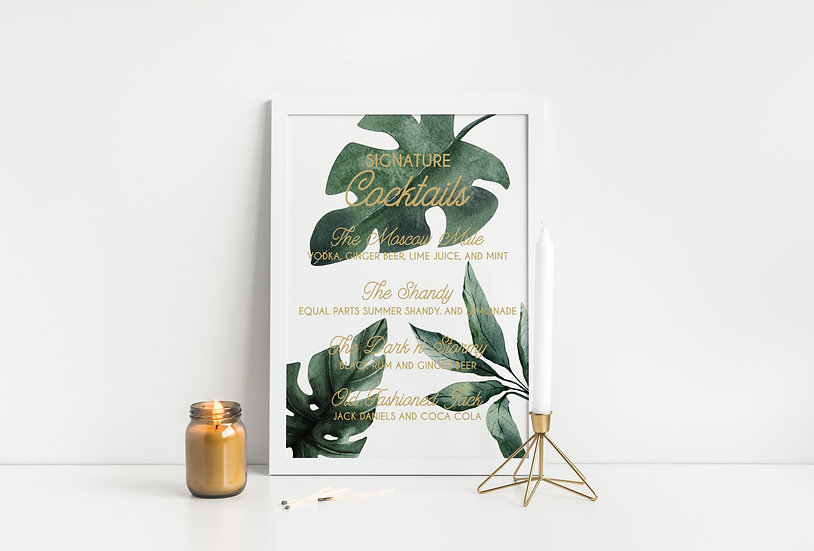 Tropical Leaves Watercolor Signature Cocktails Wedding Sign
