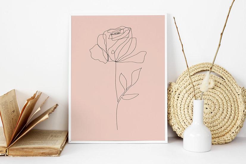 Blush Line Art Floral Digital Print