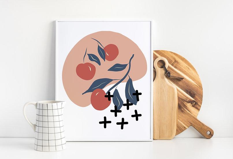 Mid Century Modern Kitchen Cherry Wall Art Print