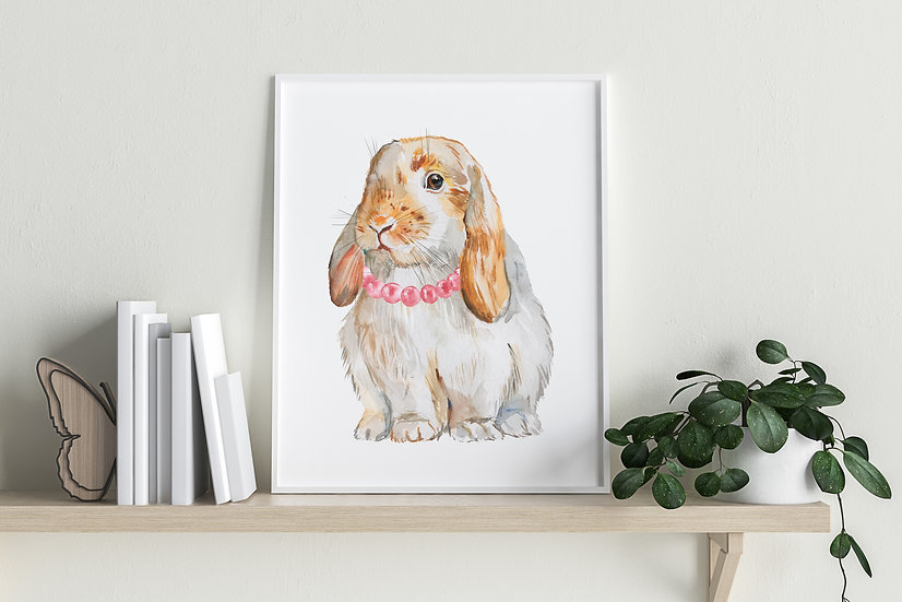 Brown and White Lop with Necklace Print