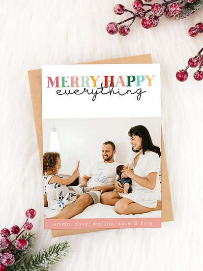 Colorful Merry Happy Everything Holiday Card