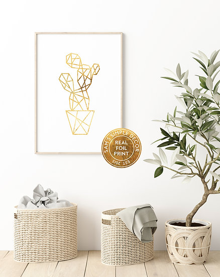 Geometric Cactus - Real Foil Print