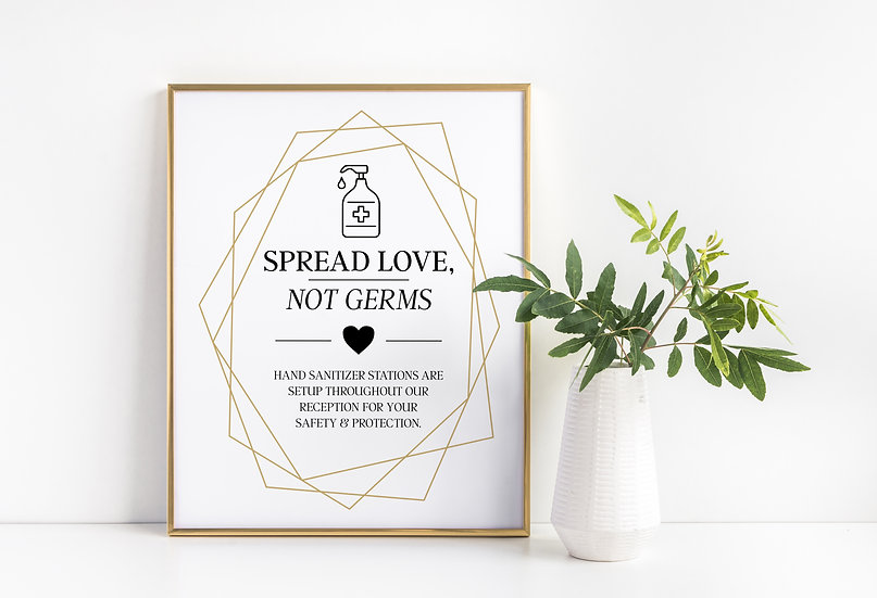 Spread Love Not Germs - Sanitizing Station Wedding Sign