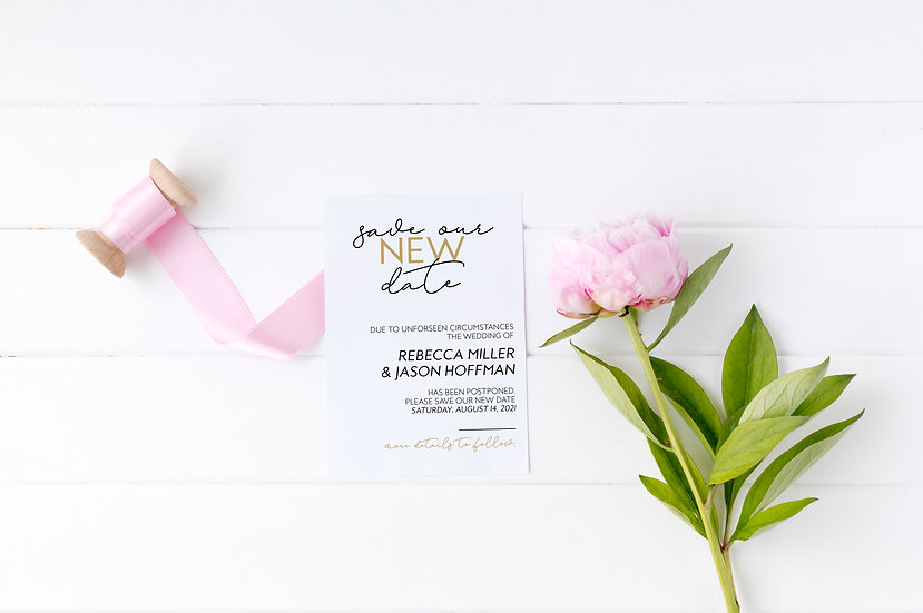 Save Our New Date - Printed Wedding Postponement Card