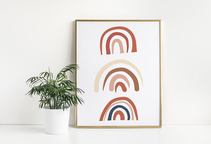 Mid-Century Modern Rainbow Line Art Print