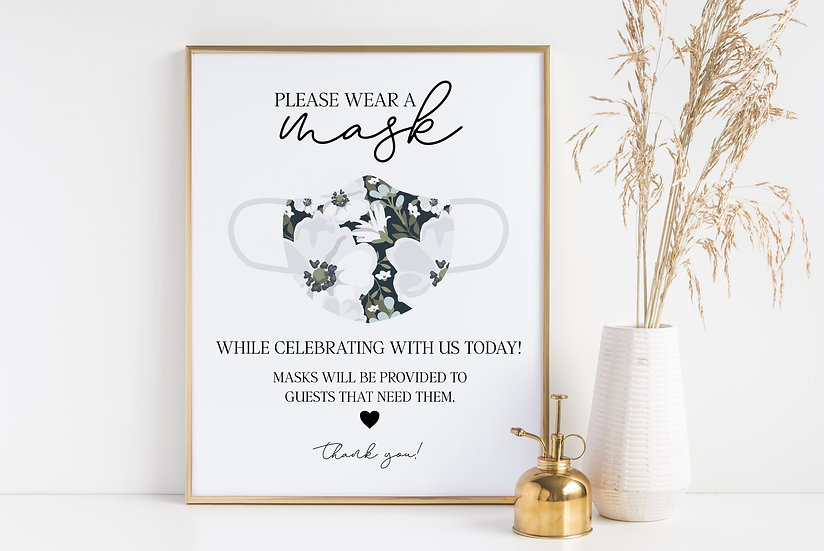 Please Wear a Mask - COVID Guidelines and Safety Wedding Sign