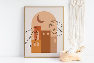 architecture print in gold picture frame