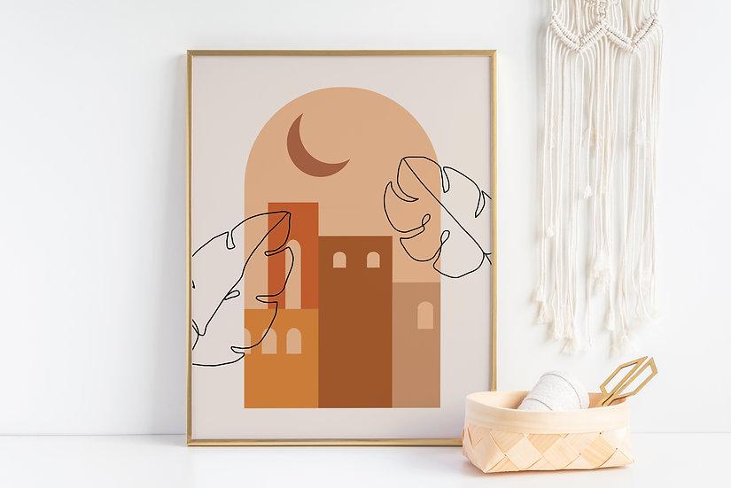 Mid-Century Modern City View Line Art Print