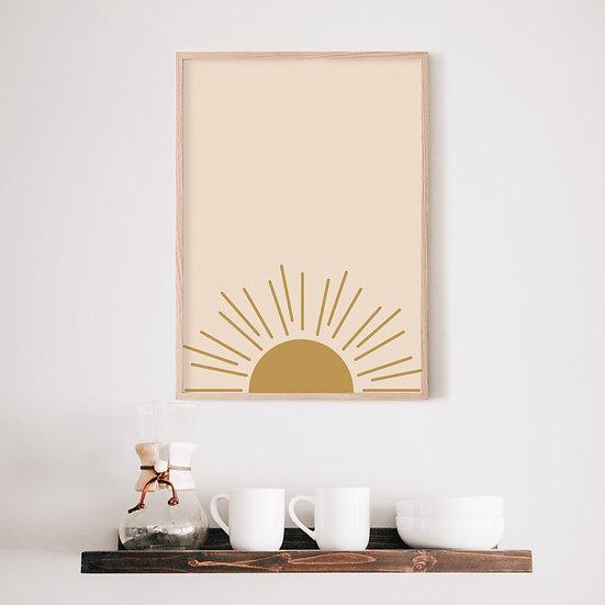 Gold Boho Sun Digital Print