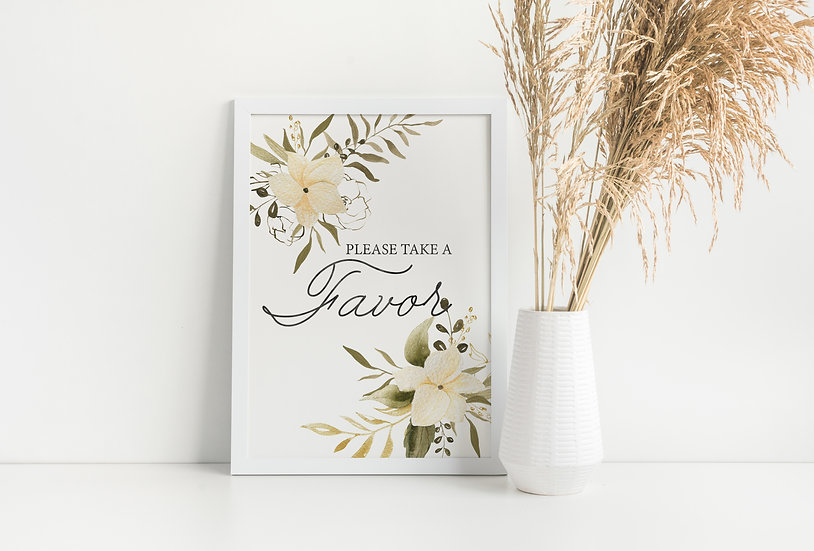 White and Green Floral Favor Wedding Sign