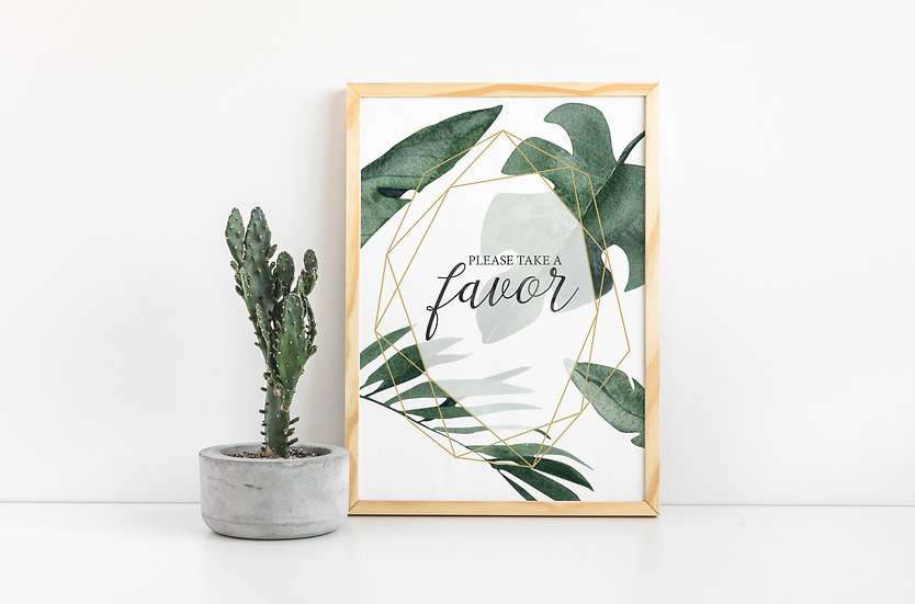 Tropical Gold Geometric Favor Wedding Sign