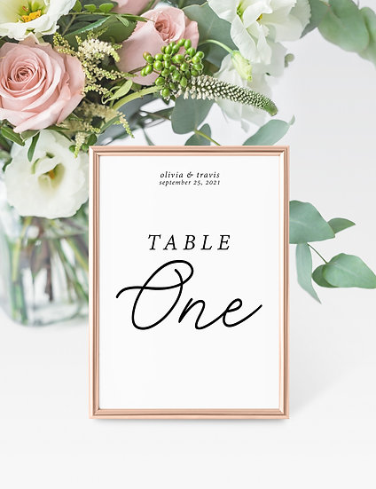 Minimal Typography Wedding Table Numbers