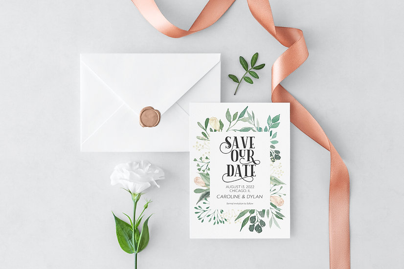 Floral Watercolor Wedding Save the Date