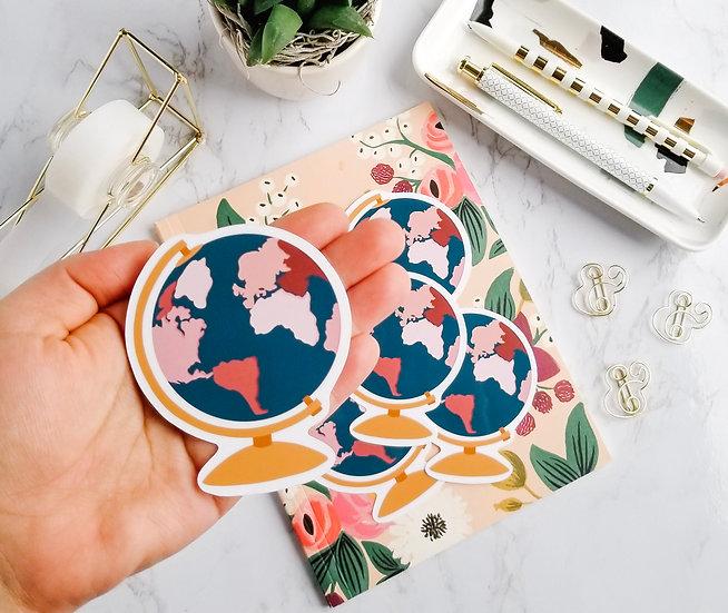 Gold and Blue Globe Sticker