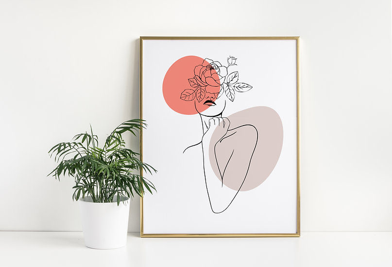 Floral Woman Abstract Line Art Print