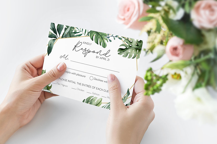 Tropical Watercolor Wedding RSVP Card