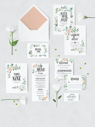 watercolor floral wedding suite with envelope and flowers