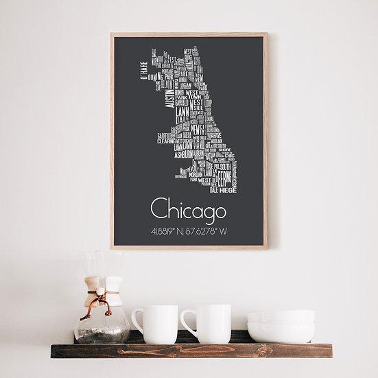 Chicago Neighborhood Typography Print