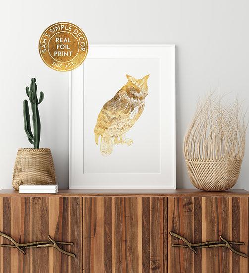 Owl - Real Foil Print