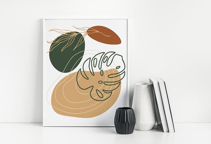 Tropical Mid Century Modern Geometric Line Art Print