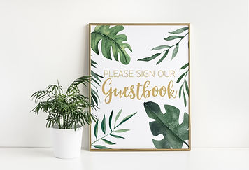 tropical wedding guestbook sign in gold picture frame