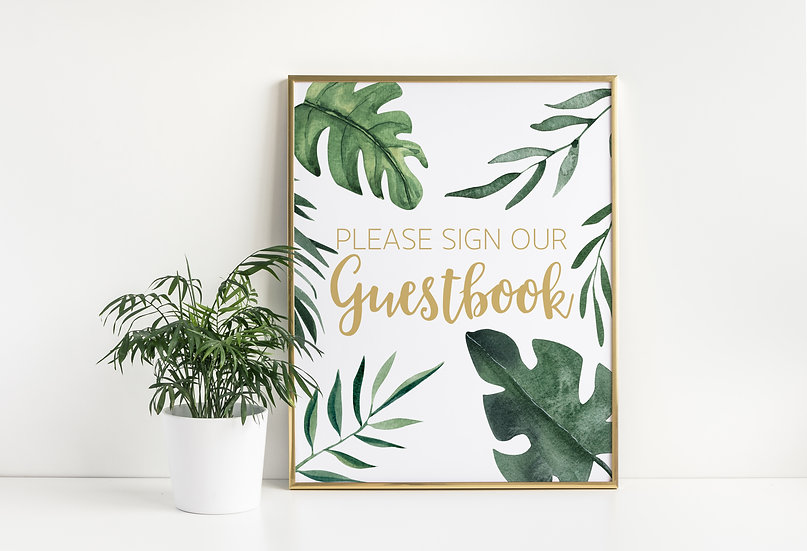 Tropical Watercolor Guestbook Wedding Sign