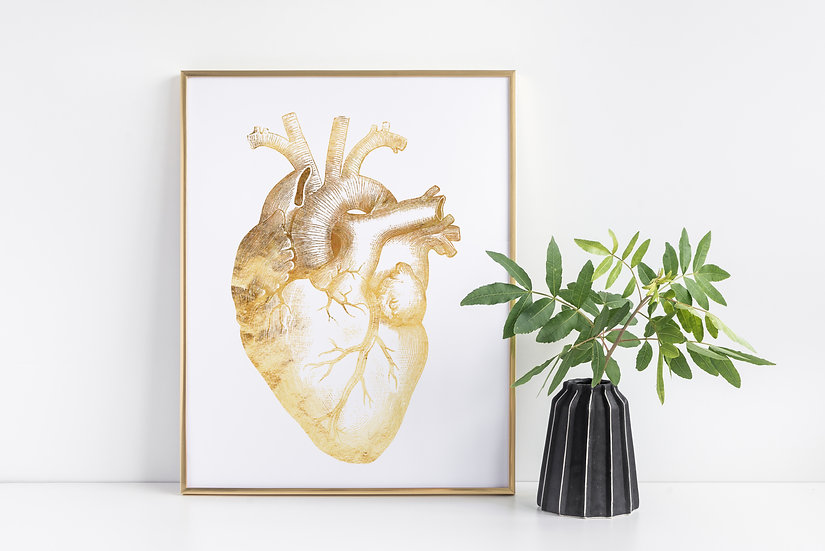 Vintage Anatomical Human Heart Real Foil Print