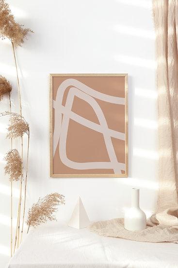 Mid Century Boho Abstract Digital Print
