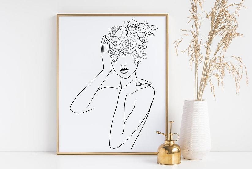 Minimal Floral Woman Line Art Print