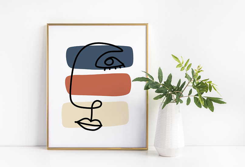 Continuous Face Line Art Mid-Century Modern Print