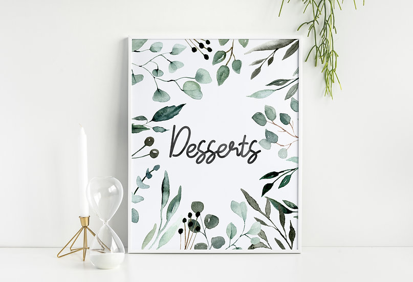 Mint Green Watercolor Dessert Table Wedding Sign