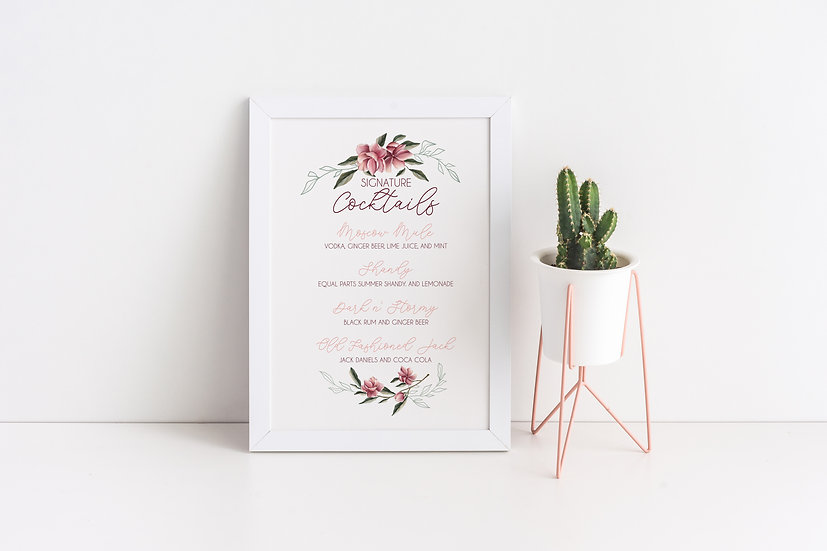 Pink Watercolor Flowers Signature Cocktails Wedding Sign