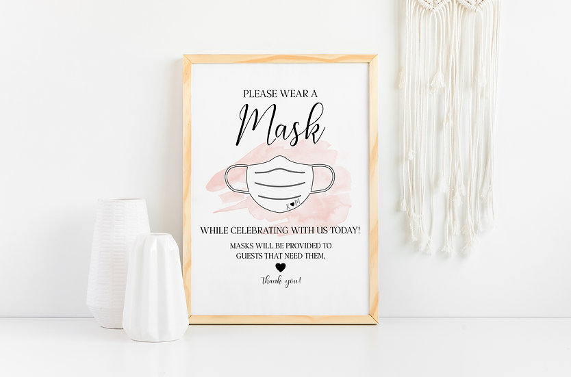 Please Wear A Mask - Pandemic Wedding Sign