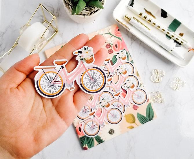 Pink Vintage Bike Sticker