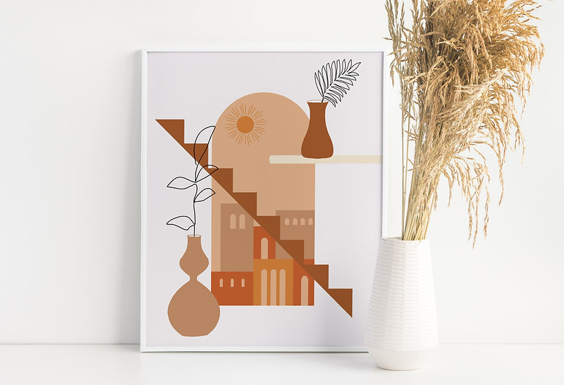 Mid Century Apartment City View Botanical Line Art Print